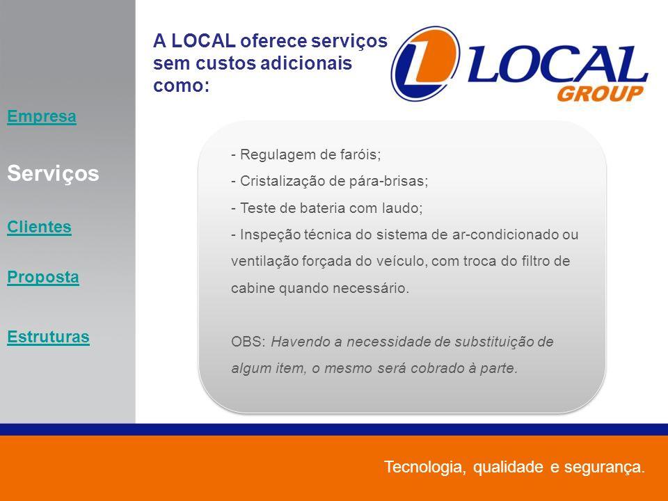 Serviços A LOCAL oferece serviços sem custos adicionais como: Empresa