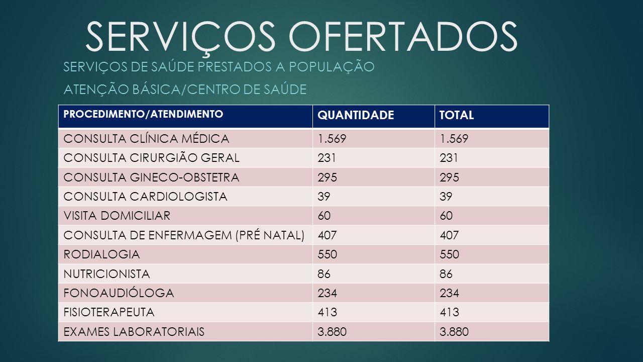 SERVIÇOS DE SAÚDE PRESTADOS A POPULAÇÃO ATENÇÃO BÁSICA/CENTRO DE SAÚDE