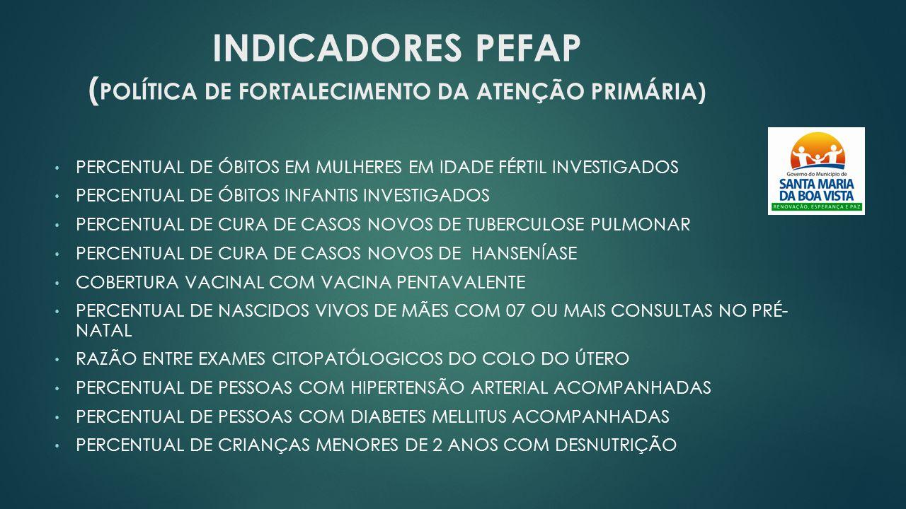 INDICADORES PEFAP (POLÍTICA DE FORTALECIMENTO DA ATENÇÃO PRIMÁRIA)