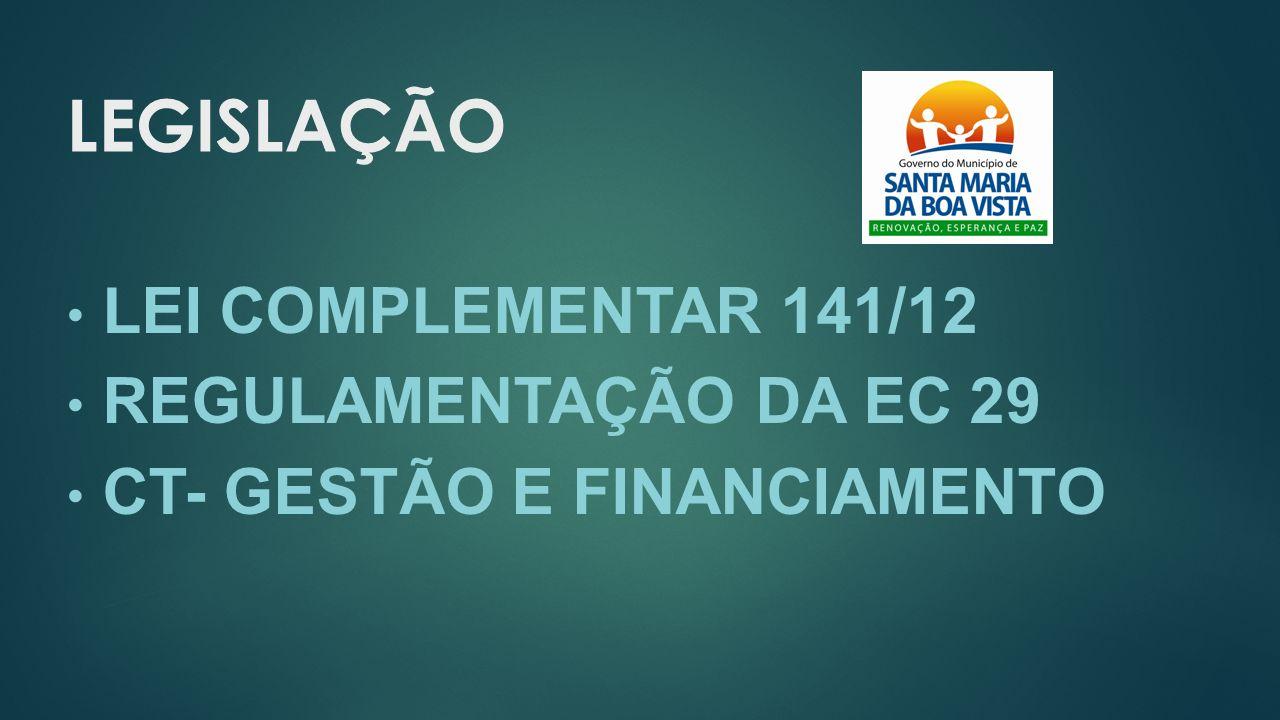 LEGISLAÇÃO LEI COMPLEMENTAR 141/12 REGULAMENTAÇÃO DA EC 29