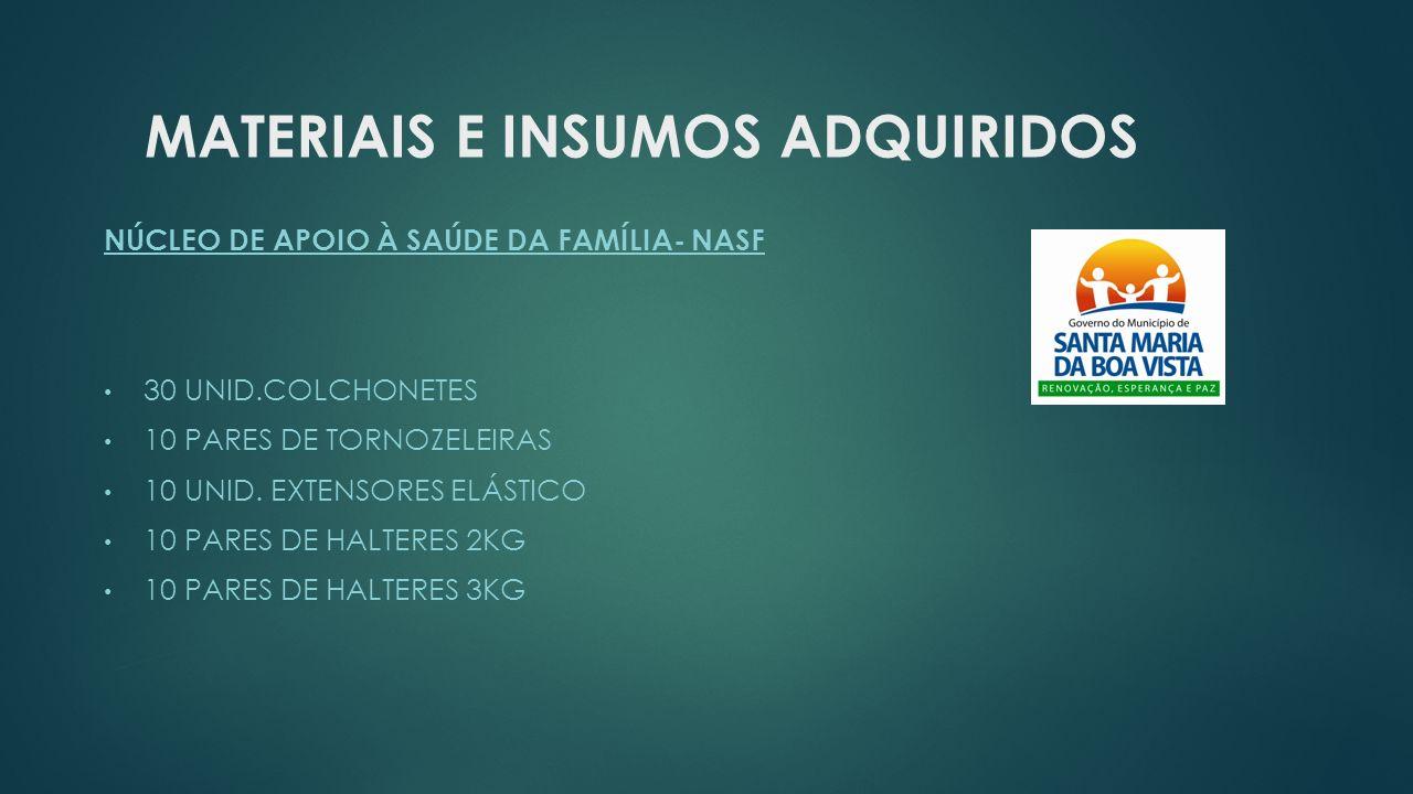 MATERIAIS E INSUMOS ADQUIRIDOS