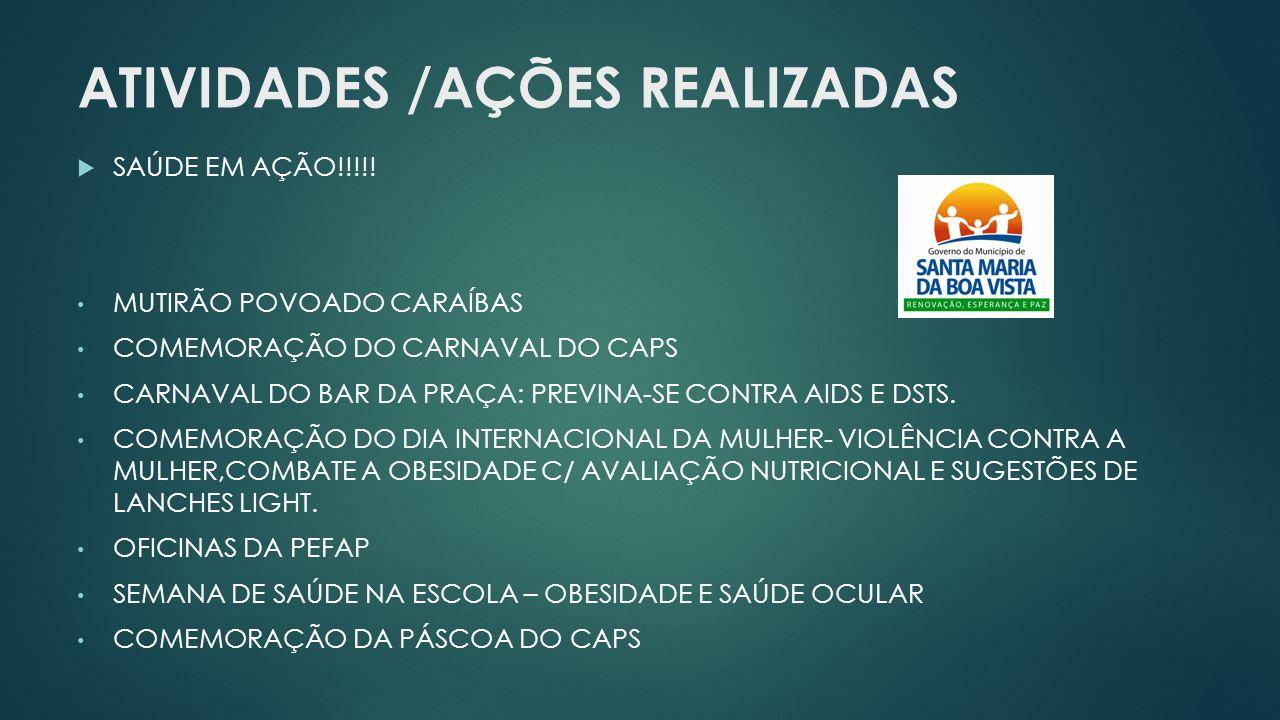 ATIVIDADES /AÇÕES REALIZADAS