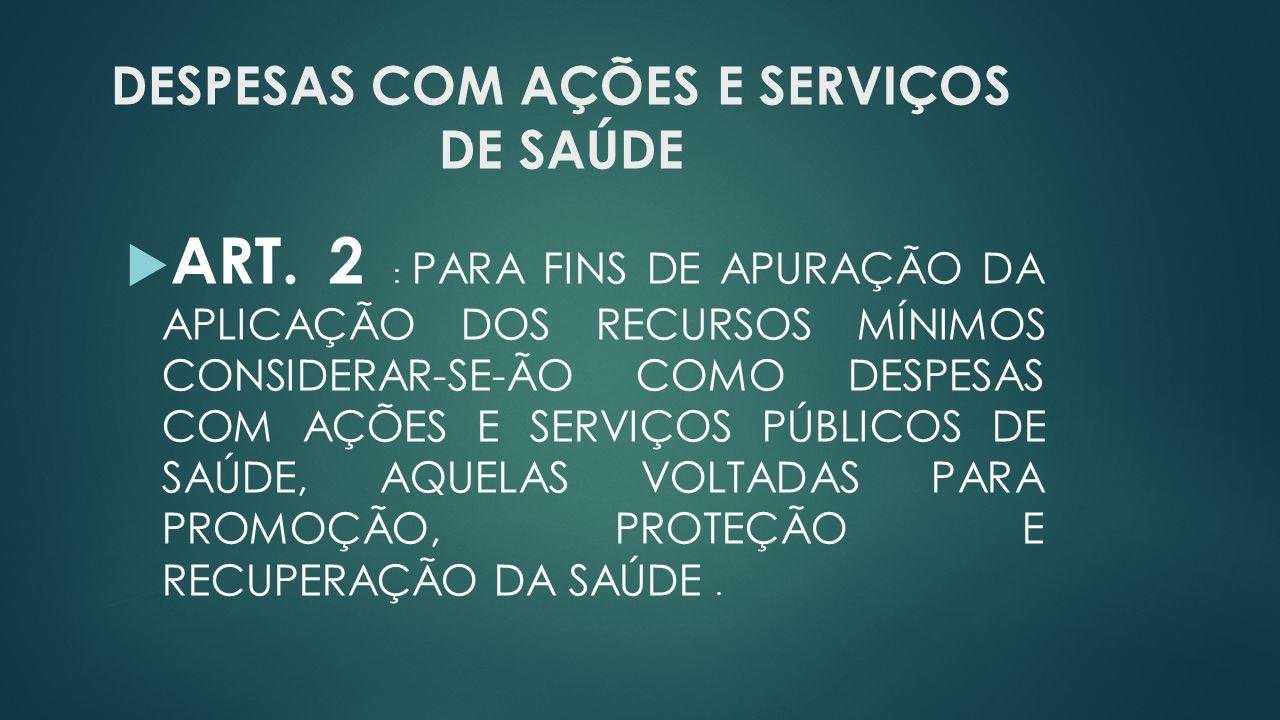 DESPESAS COM AÇÕES E SERVIÇOS DE SAÚDE