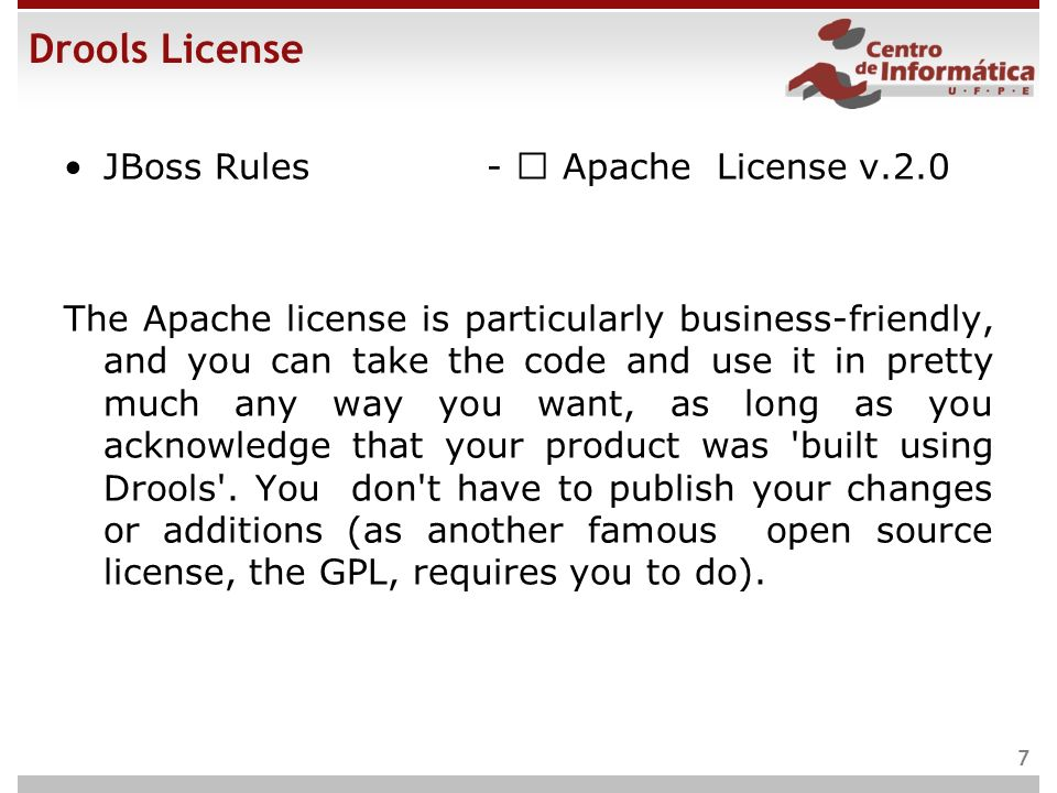 Drools License JBoss Rules -  Apache License v.2.0