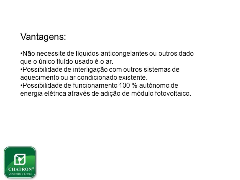 Vantagens: Não necessite de líquidos anticongelantes ou outros dado que o único fluído usado é o ar.