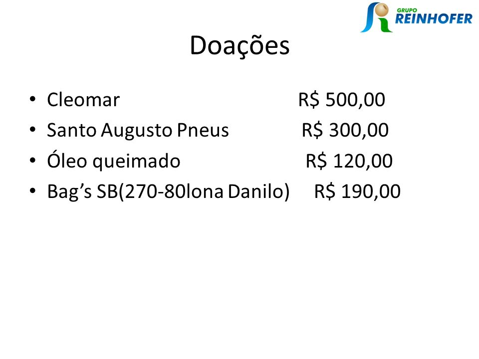 Doações Cleomar R$ 500,00 Santo Augusto Pneus R$ 300,00