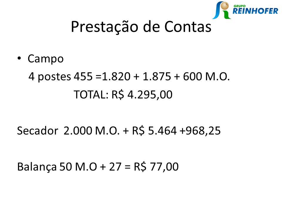 Prestação de Contas Campo 4 postes 455 =1.820 + 1.875 + 600 M.O.