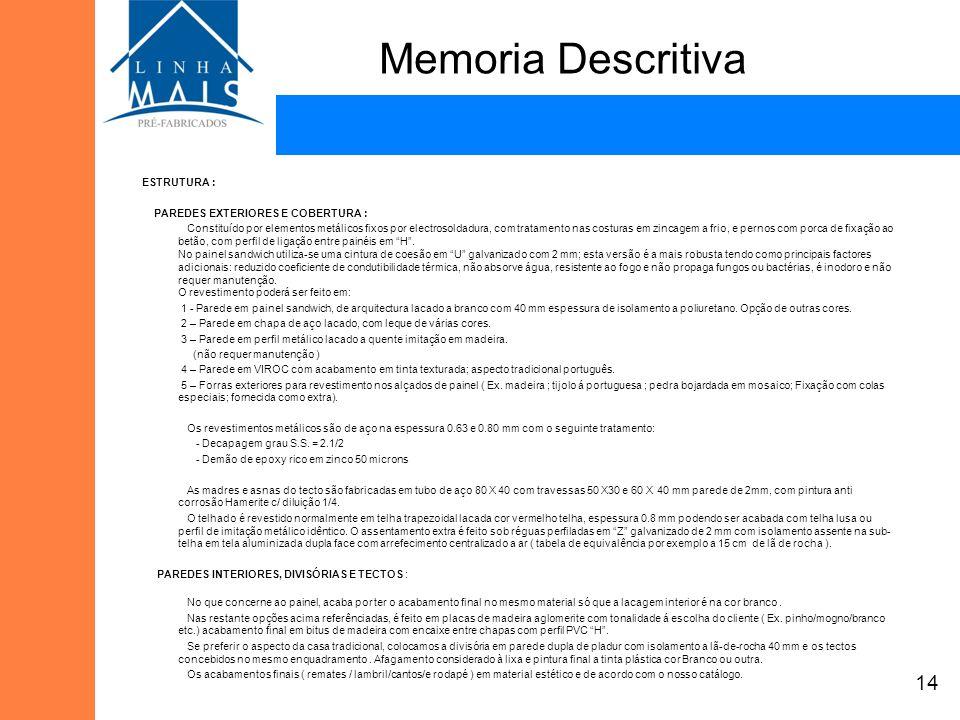Memoria Descritiva 14 ESTRUTURA : PAREDES EXTERIORES E COBERTURA :