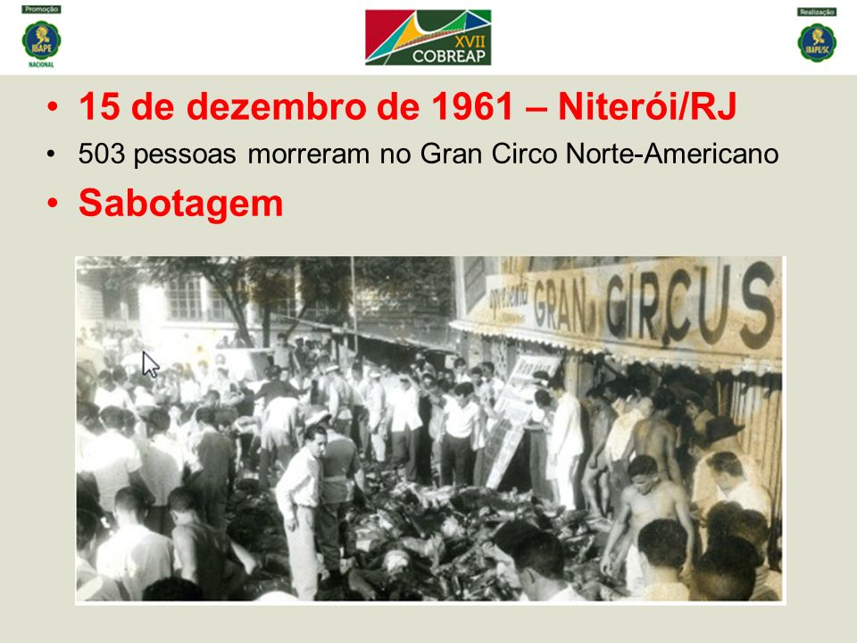 15 de dezembro de 1961 – Niterói/RJ Sabotagem