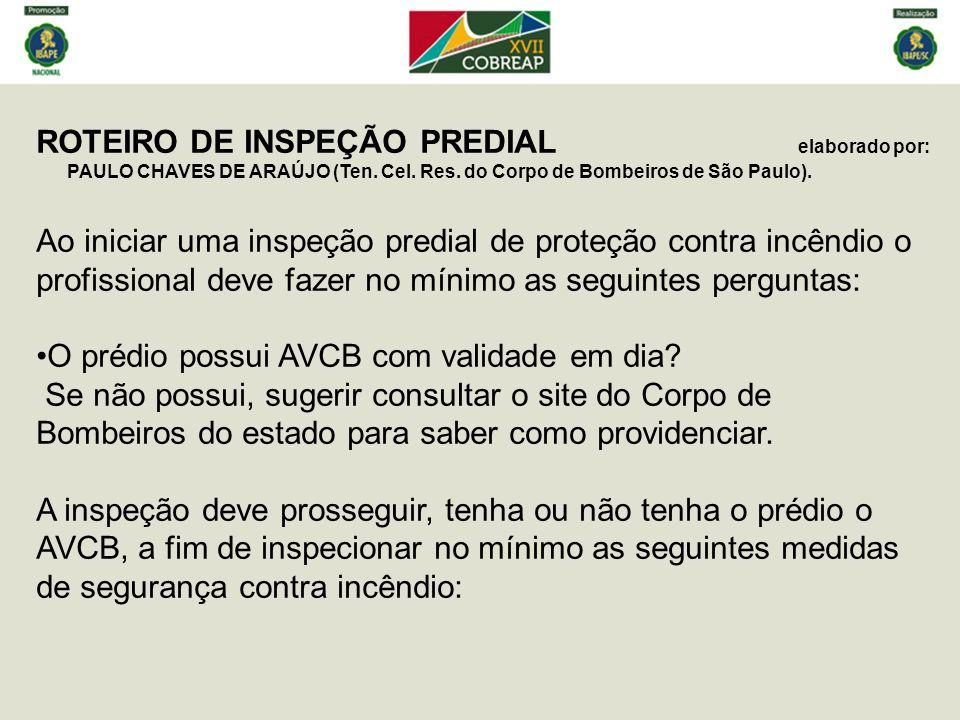ROTEIRO DE INSPEÇÃO PREDIAL elaborado por: