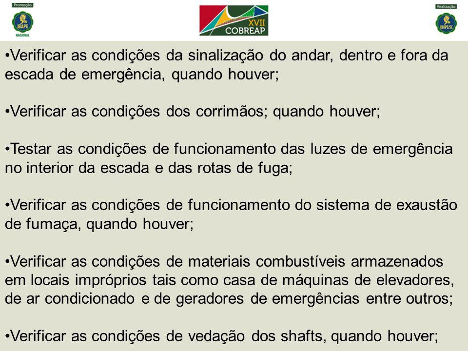 Verificar as condições da sinalização do andar, dentro e fora da escada de emergência, quando houver;