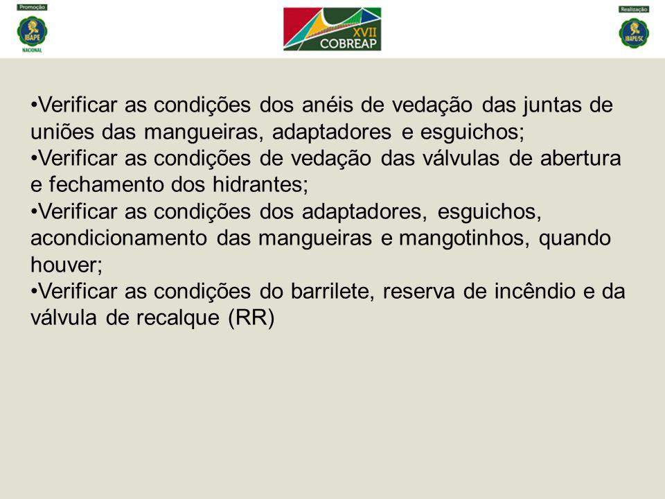 Verificar as condições dos anéis de vedação das juntas de uniões das mangueiras, adaptadores e esguichos;