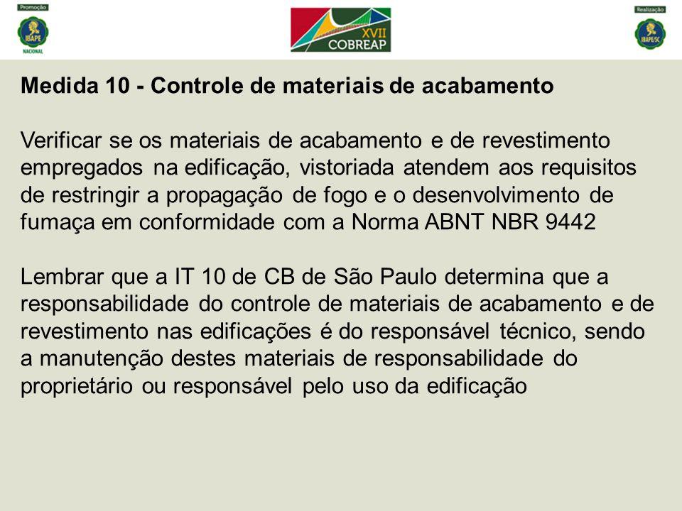 Medida 10 - Controle de materiais de acabamento