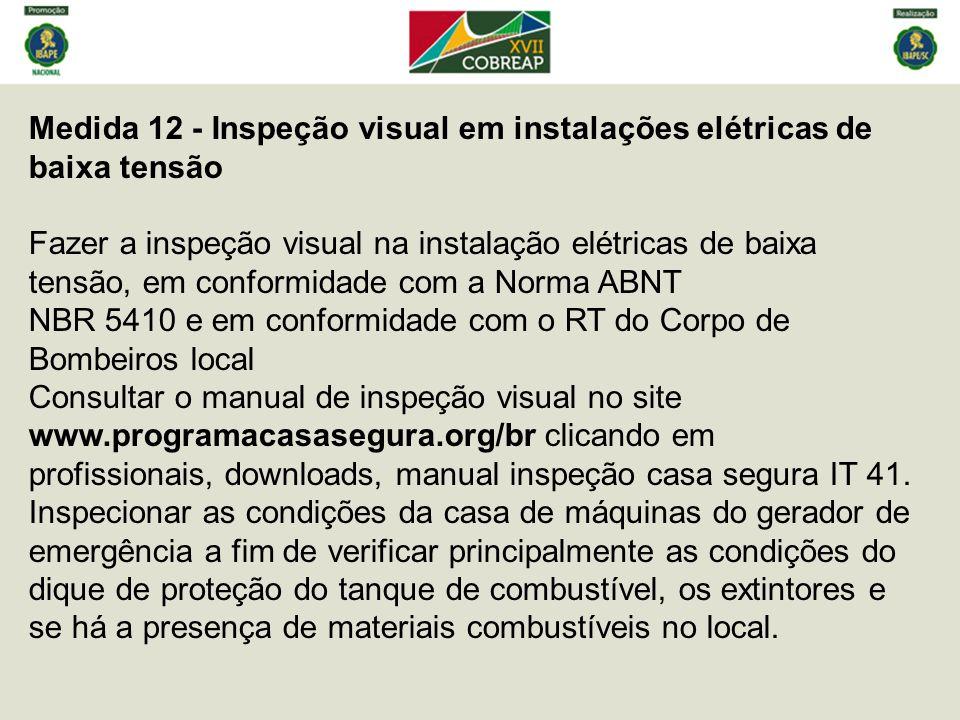 Medida 12 - Inspeção visual em instalações elétricas de baixa tensão