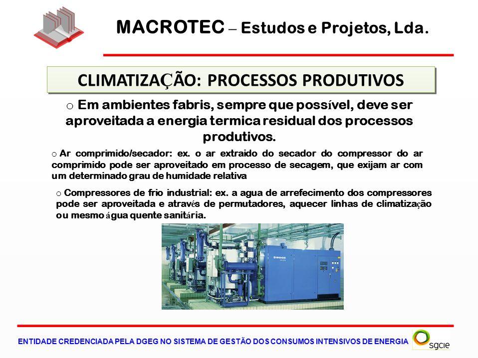 MACROTEC – Estudos e Projetos, Lda. CLIMATIZAÇÃO: PROCESSOS PRODUTIVOS