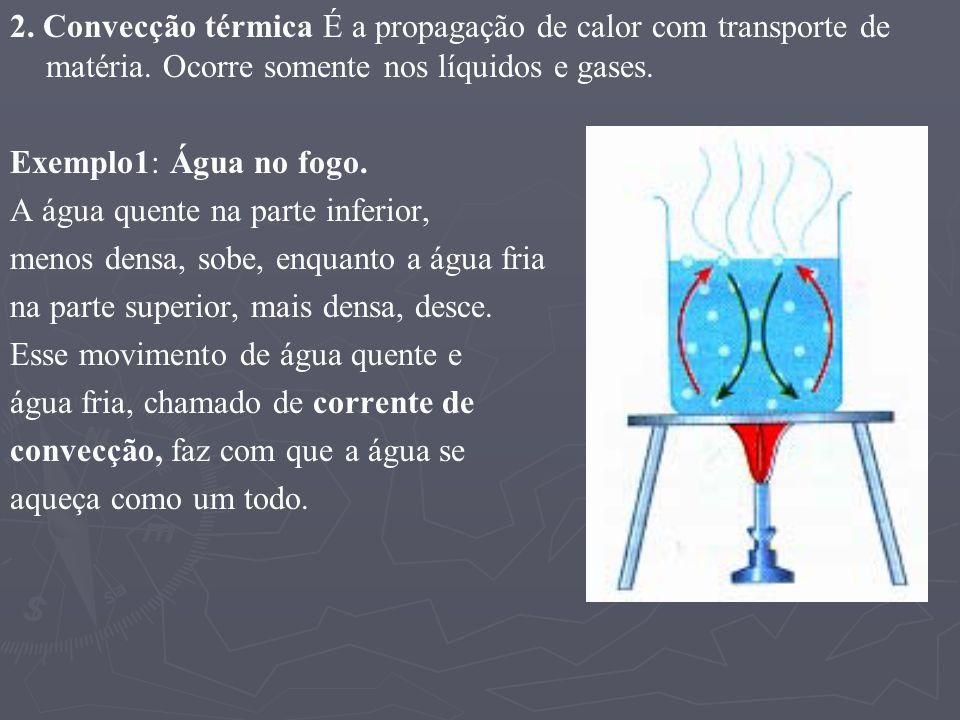 2. Convecção térmica É a propagação de calor com transporte de matéria