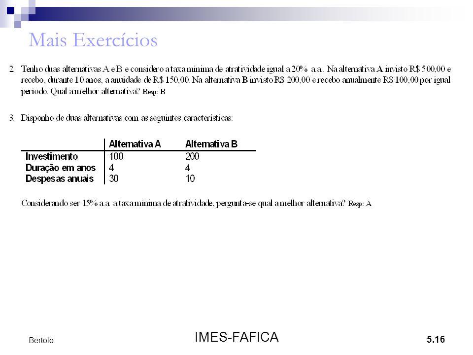 Mais Exercícios Bertolo IMES-FAFICA