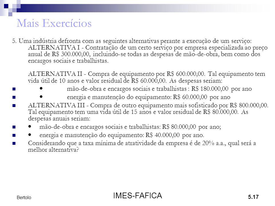 Mais Exercícios IMES-FAFICA