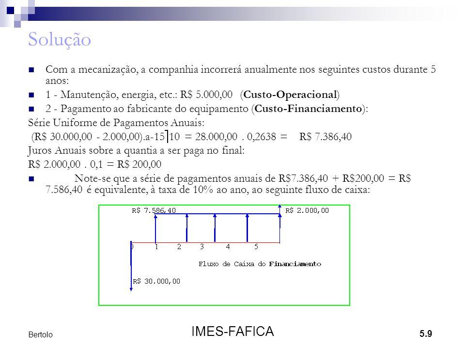 Solução Com a mecanização, a companhia incorrerá anualmente nos seguintes custos durante 5 anos: