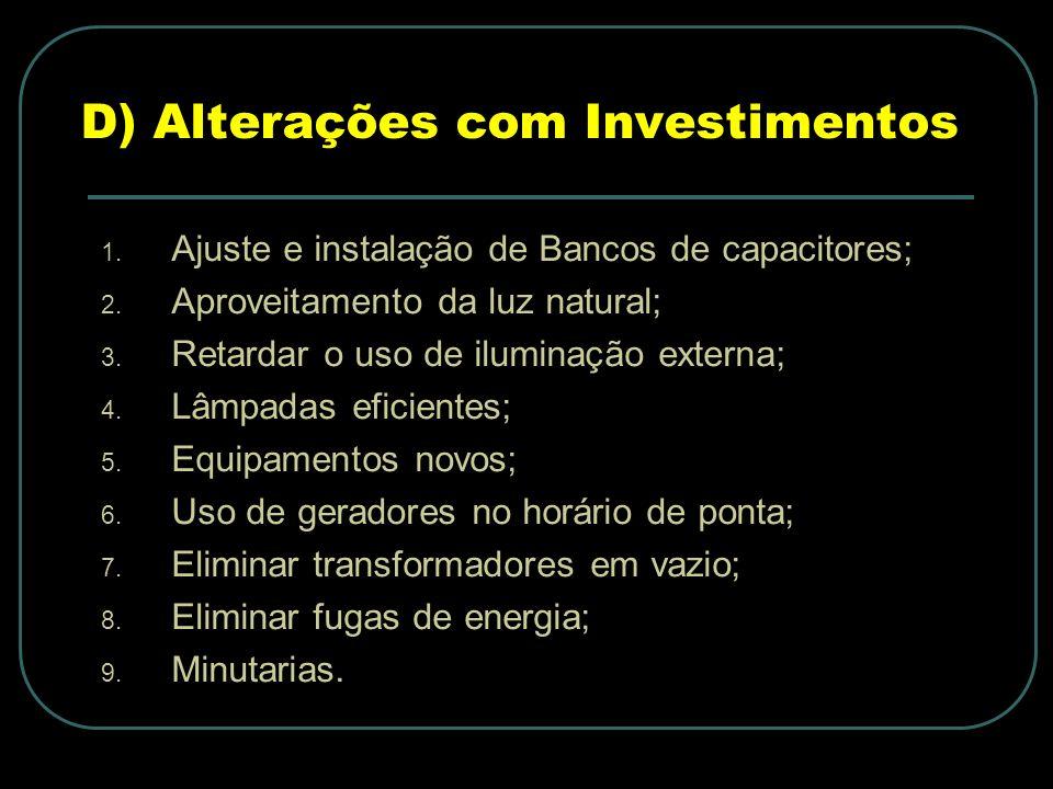 D) Alterações com Investimentos