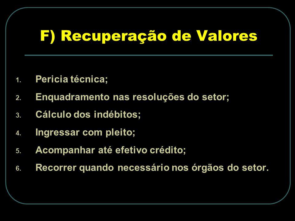 F) Recuperação de Valores