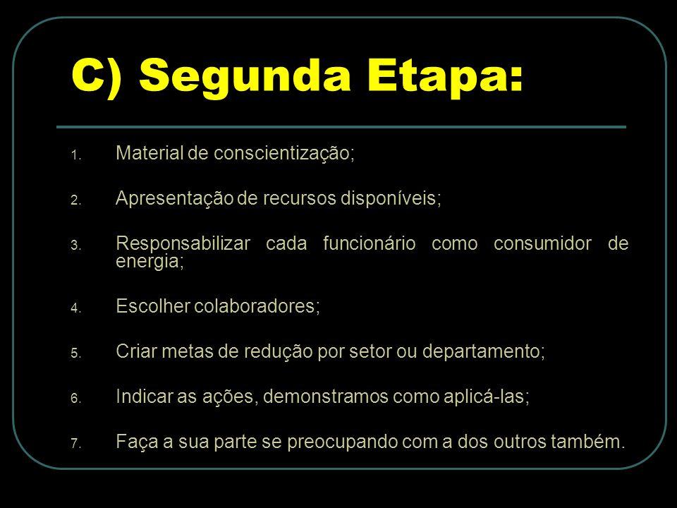 C) Segunda Etapa: Material de conscientização;