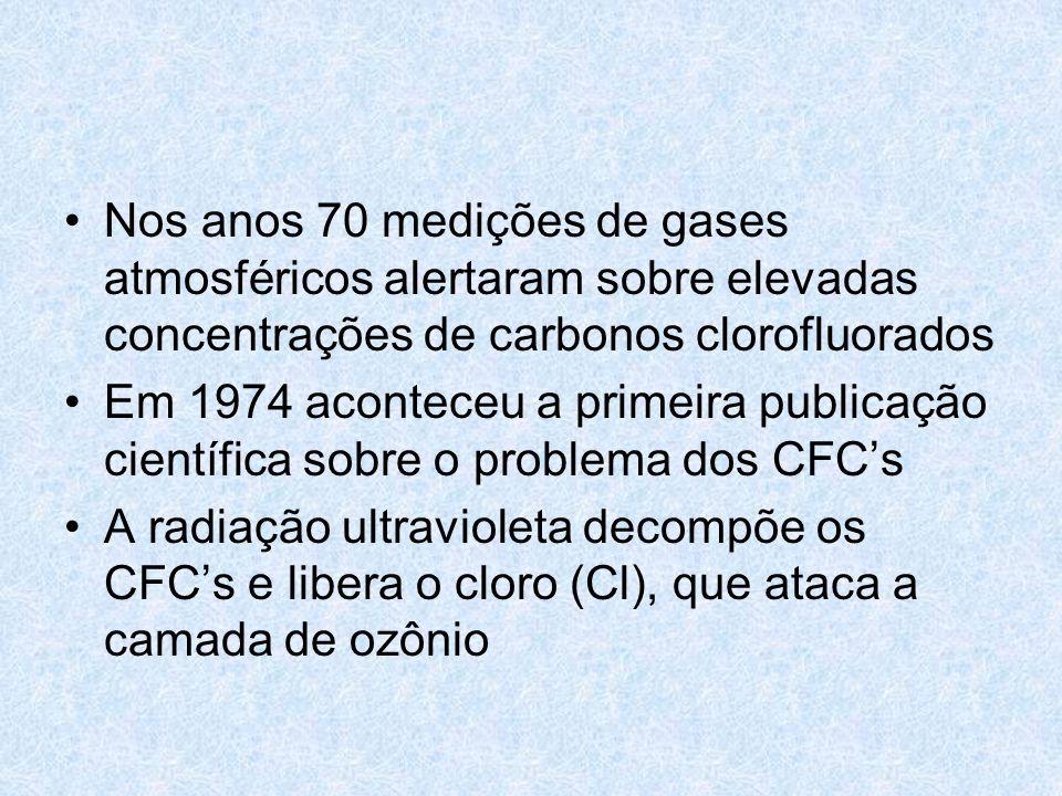 Nos anos 70 medições de gases atmosféricos alertaram sobre elevadas concentrações de carbonos clorofluorados