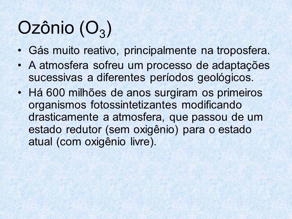 Ozônio (O3) Gás muito reativo, principalmente na troposfera.