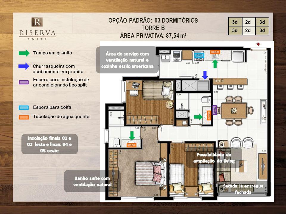 OPÇÃO PADRÃO: 03 DORMITÓRIOS TORRE B ÁREA PRIVATIVA: 87,54 m²