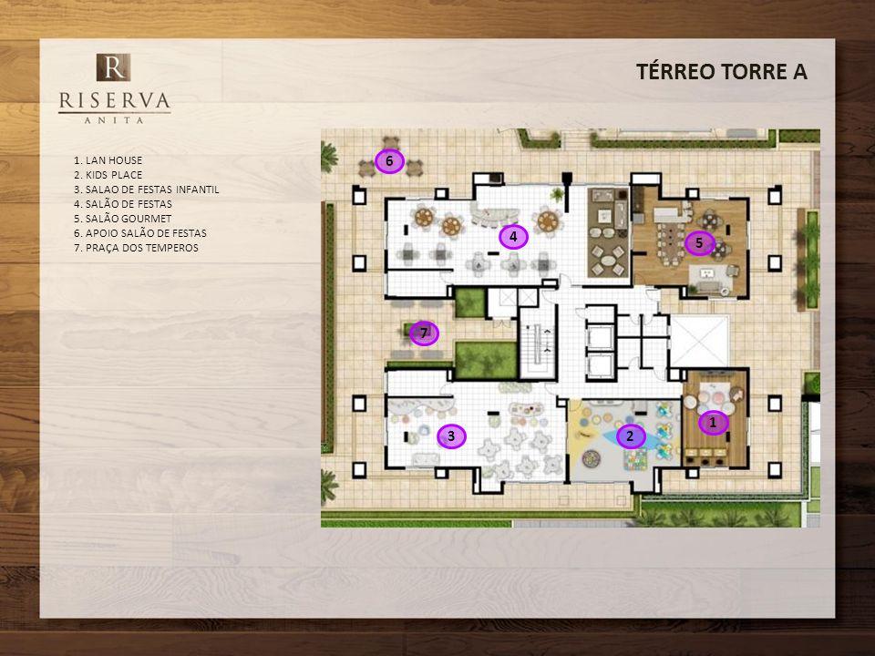 TÉRREO TORRE A 6 4 5 7 1 3 2 1. LAN HOUSE 2. KIDS PLACE