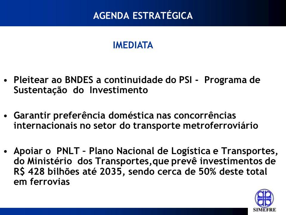 AGENDA ESTRATÉGICA IMEDIATA. Pleitear ao BNDES a continuidade do PSI - Programa de Sustentação do Investimento.