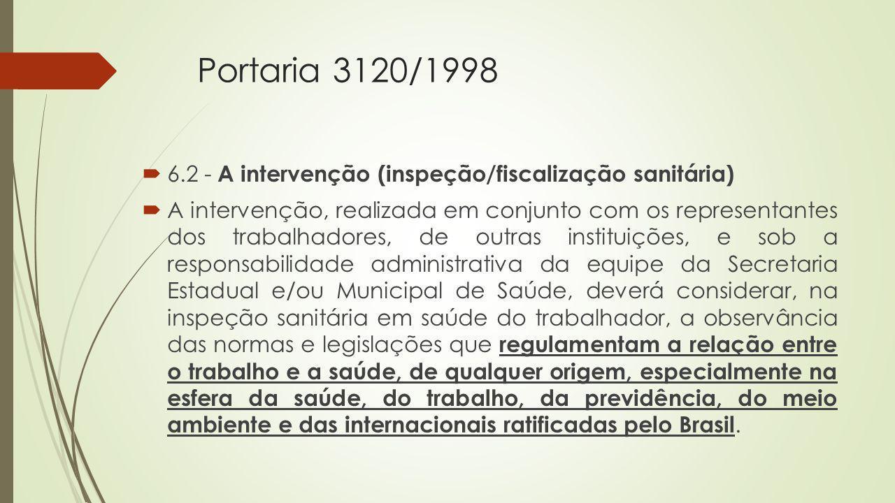 Portaria 3120/1998 6.2 - A intervenção (inspeção/fiscalização sanitária)