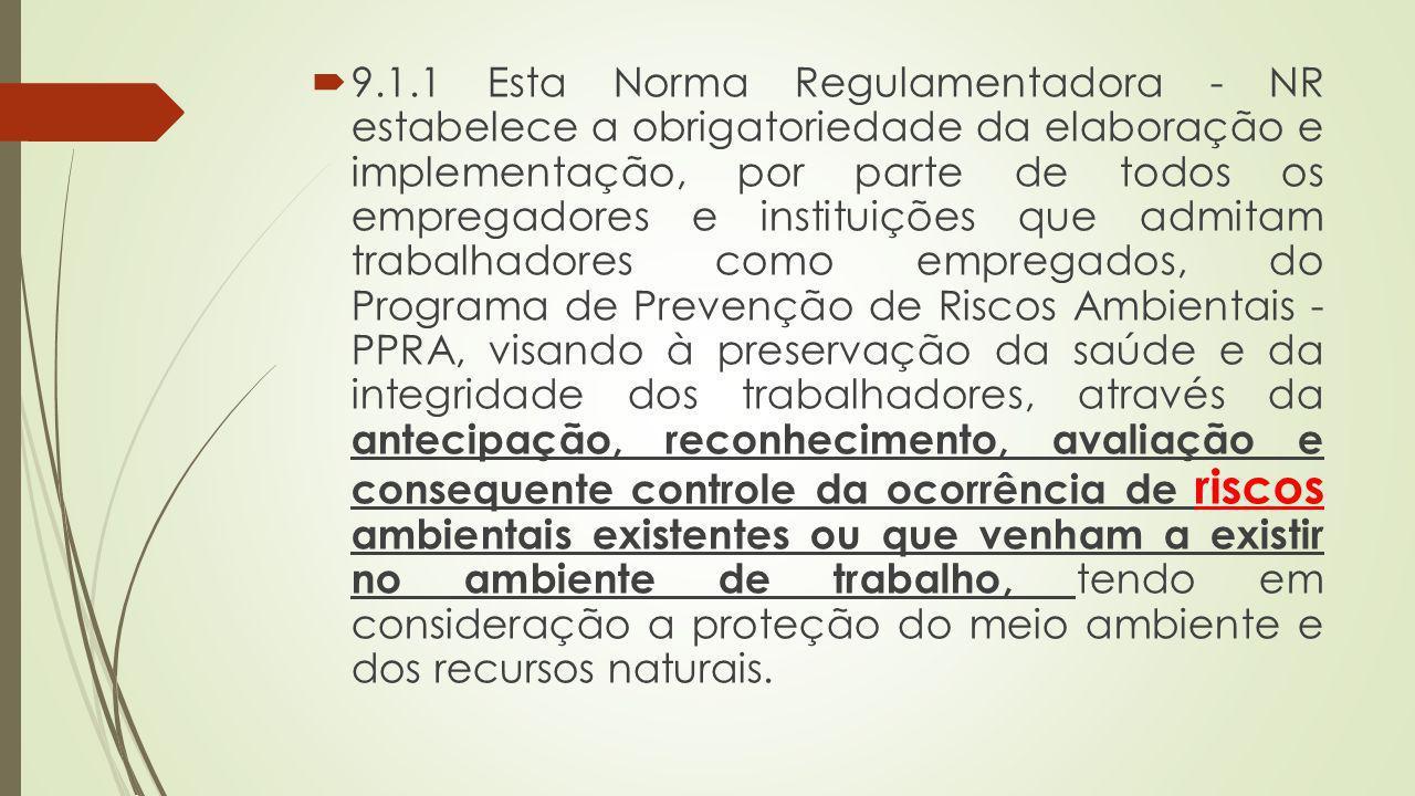 9.1.1 Esta Norma Regulamentadora - NR estabelece a obrigatoriedade da elaboração e implementação, por parte de todos os empregadores e instituições que admitam trabalhadores como empregados, do Programa de Prevenção de Riscos Ambientais - PPRA, visando à preservação da saúde e da integridade dos trabalhadores, através da antecipação, reconhecimento, avaliação e consequente controle da ocorrência de riscos ambientais existentes ou que venham a existir no ambiente de trabalho, tendo em consideração a proteção do meio ambiente e dos recursos naturais.