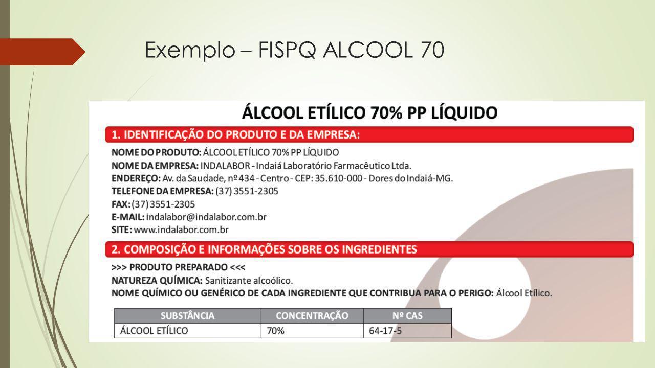 Exemplo – FISPQ ALCOOL 70