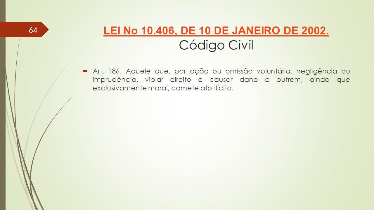 LEI No 10.406, DE 10 DE JANEIRO DE 2002. Código Civil
