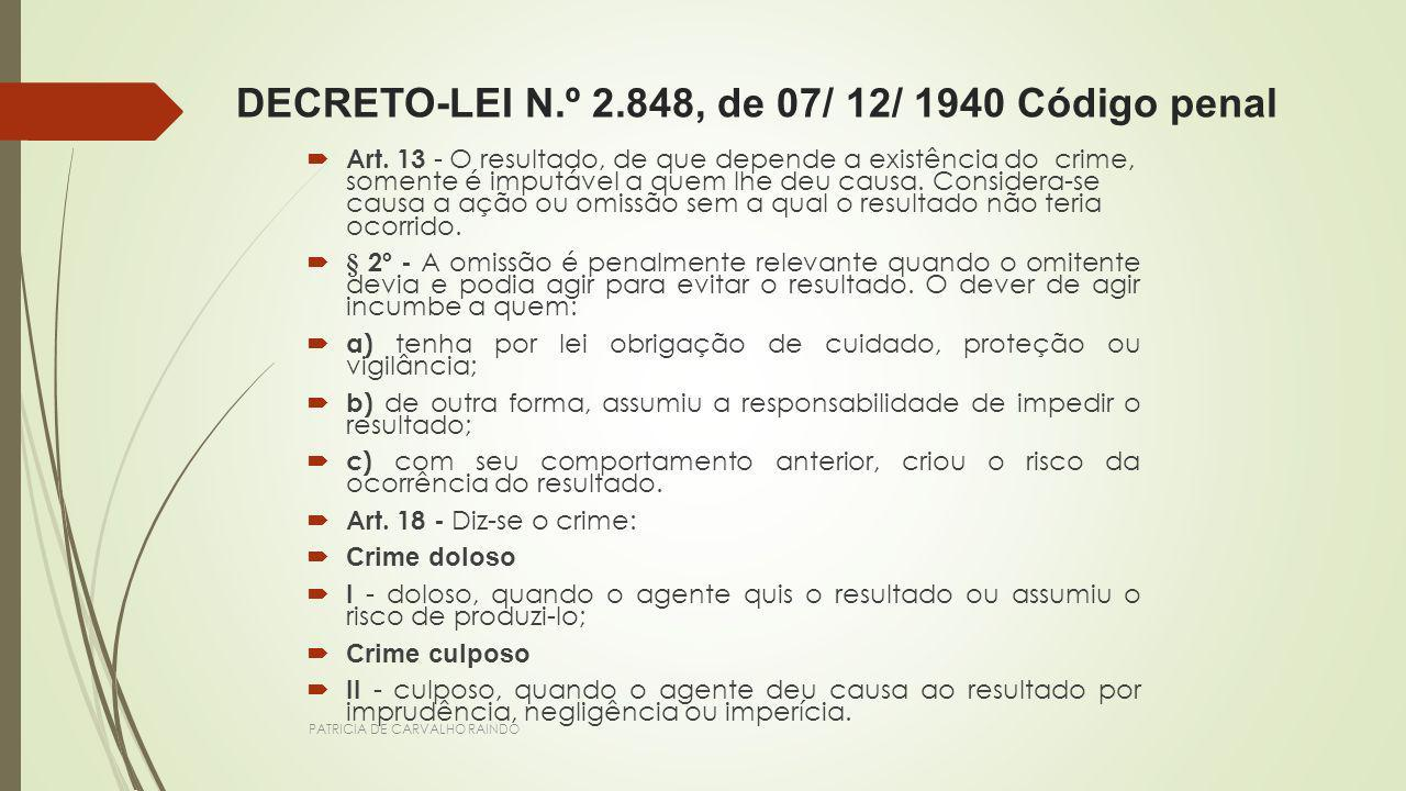 DECRETO-LEI N.º 2.848, de 07/ 12/ 1940 Código penal