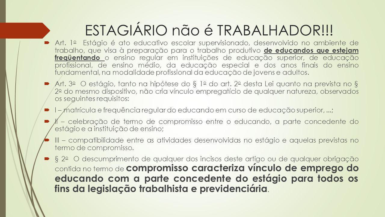 ESTAGIÁRIO não é TRABALHADOR!!!