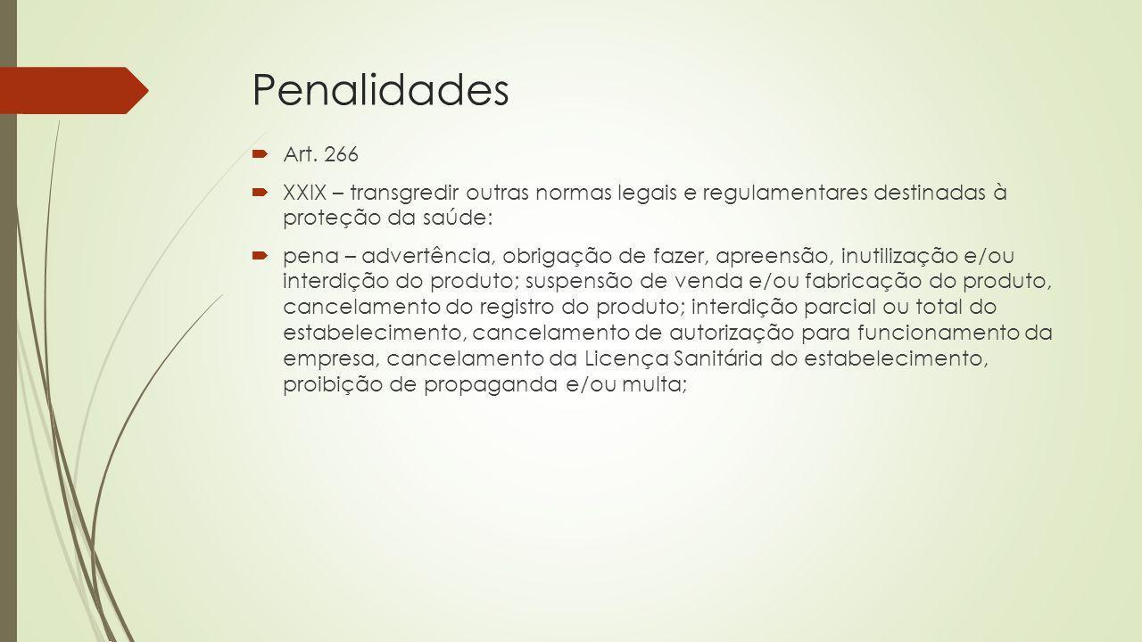 Penalidades Art. 266. XXIX – transgredir outras normas legais e regulamentares destinadas à proteção da saúde: