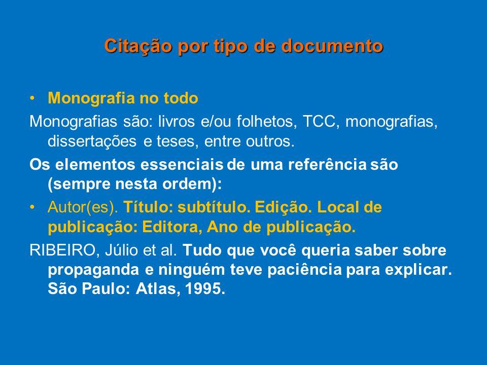 Citação por tipo de documento