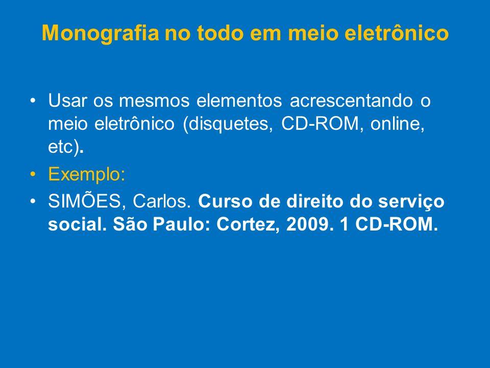 Monografia no todo em meio eletrônico