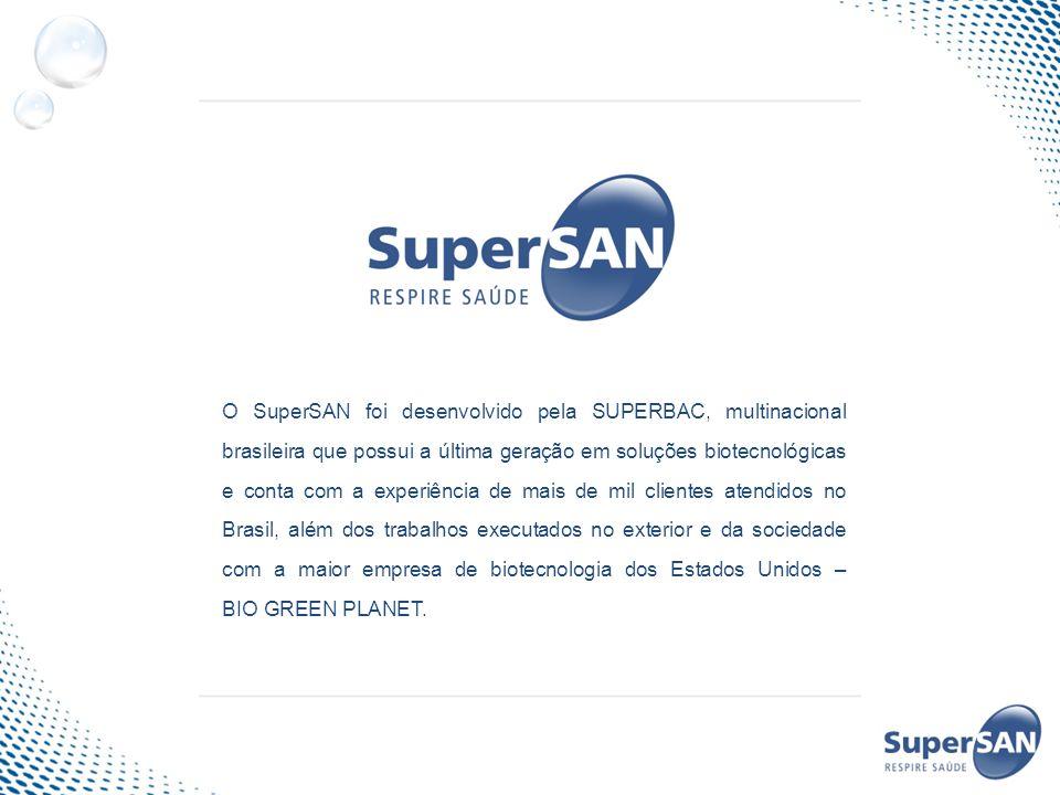 O SuperSAN foi desenvolvido pela SUPERBAC, multinacional brasileira que possui a última geração em soluções biotecnológicas e conta com a experiência de mais de mil clientes atendidos no Brasil, além dos trabalhos executados no exterior e da sociedade com a maior empresa de biotecnologia dos Estados Unidos – BIO GREEN PLANET.