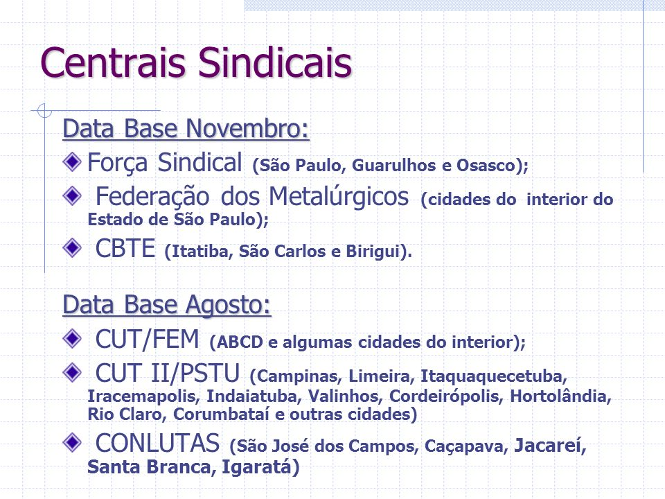 Centrais Sindicais Data Base Novembro: