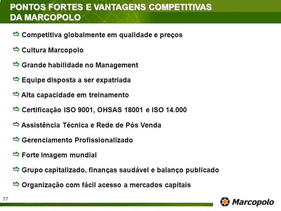 PONTOS FORTES E VANTAGENS COMPETITIVAS DA MARCOPOLO