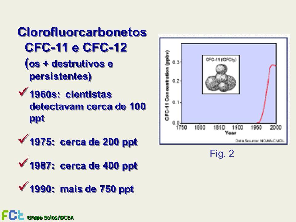 Clorofluorcarbonetos CFC-11 e CFC-12 (os + destrutivos e persistentes)