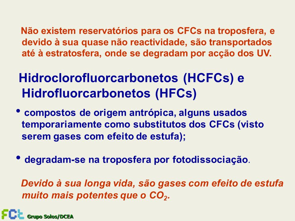 Hidroclorofluorcarbonetos (HCFCs) e Hidrofluorcarbonetos (HFCs)