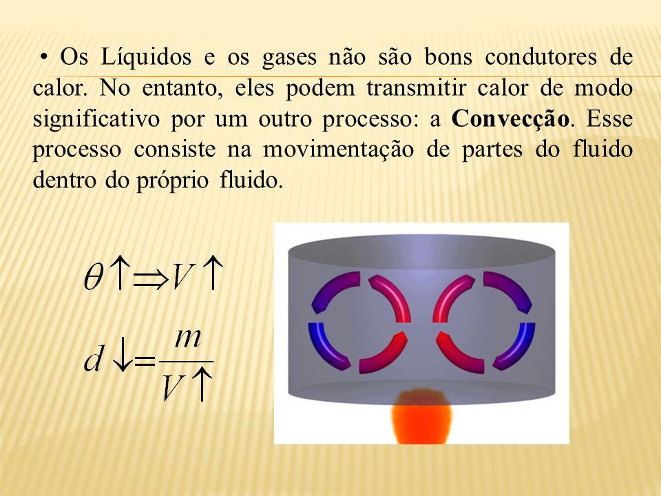 • Os Líquidos e os gases não são bons condutores de calor