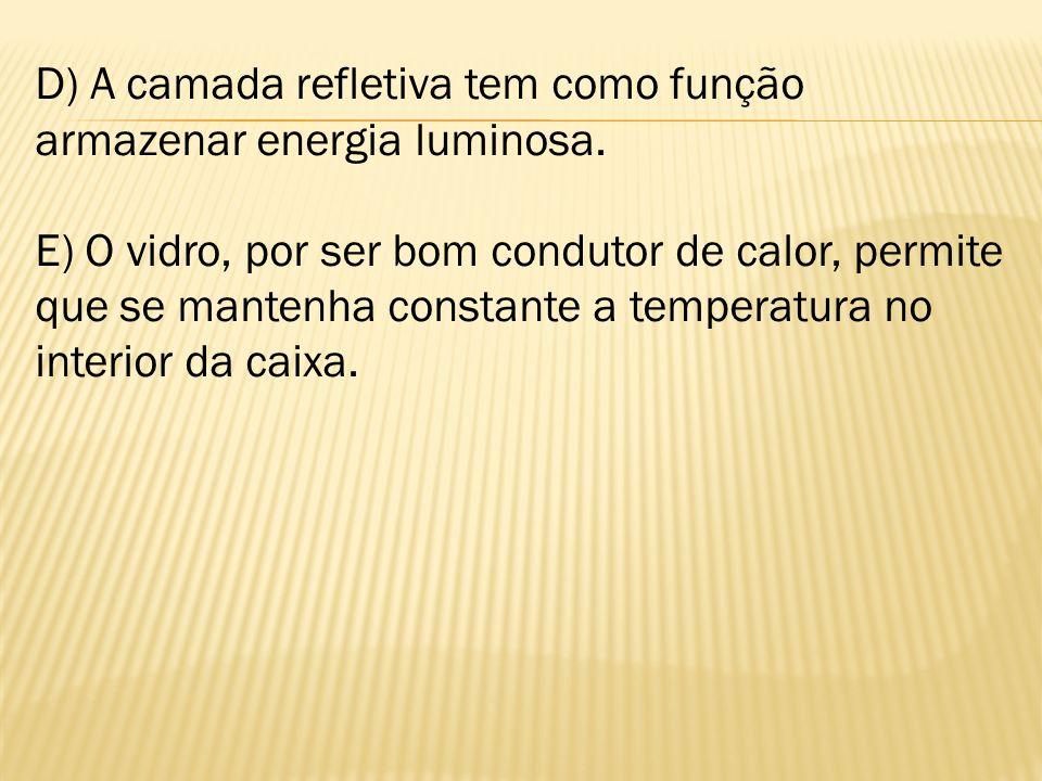 D) A camada refletiva tem como função armazenar energia luminosa.