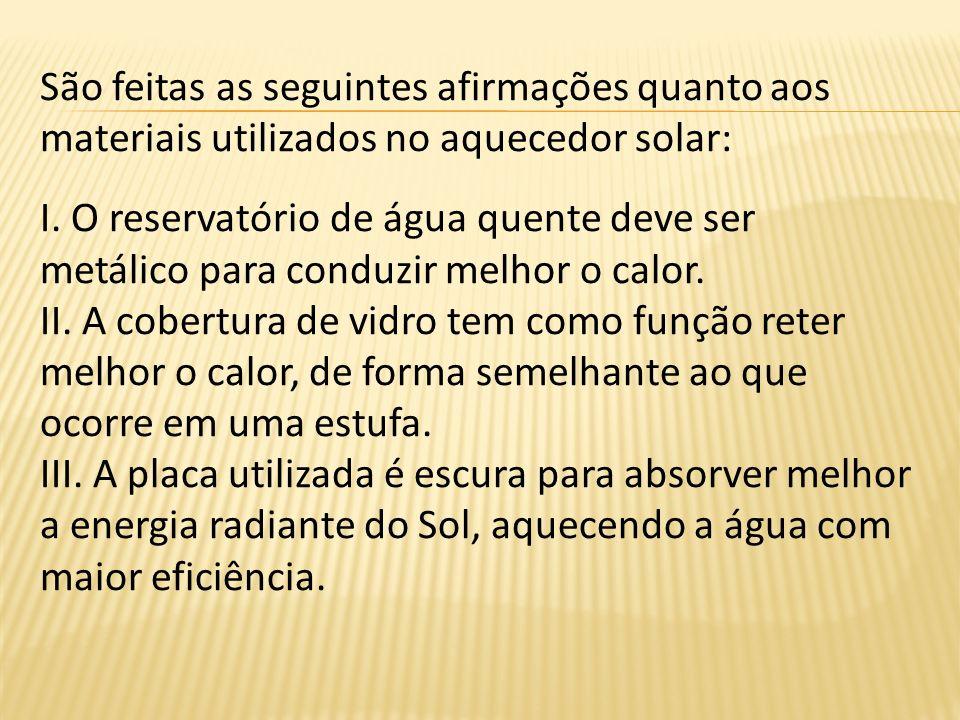 São feitas as seguintes afirmações quanto aos materiais utilizados no aquecedor solar: