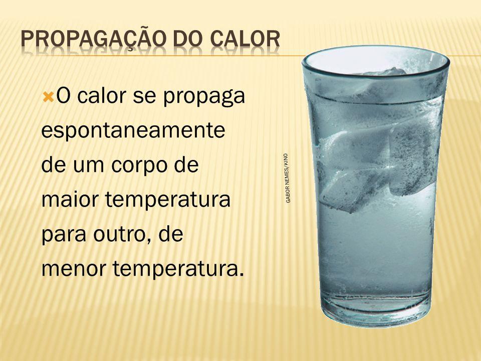 Propagação do calor O calor se propaga espontaneamente de um corpo de maior temperatura para outro, de menor temperatura.