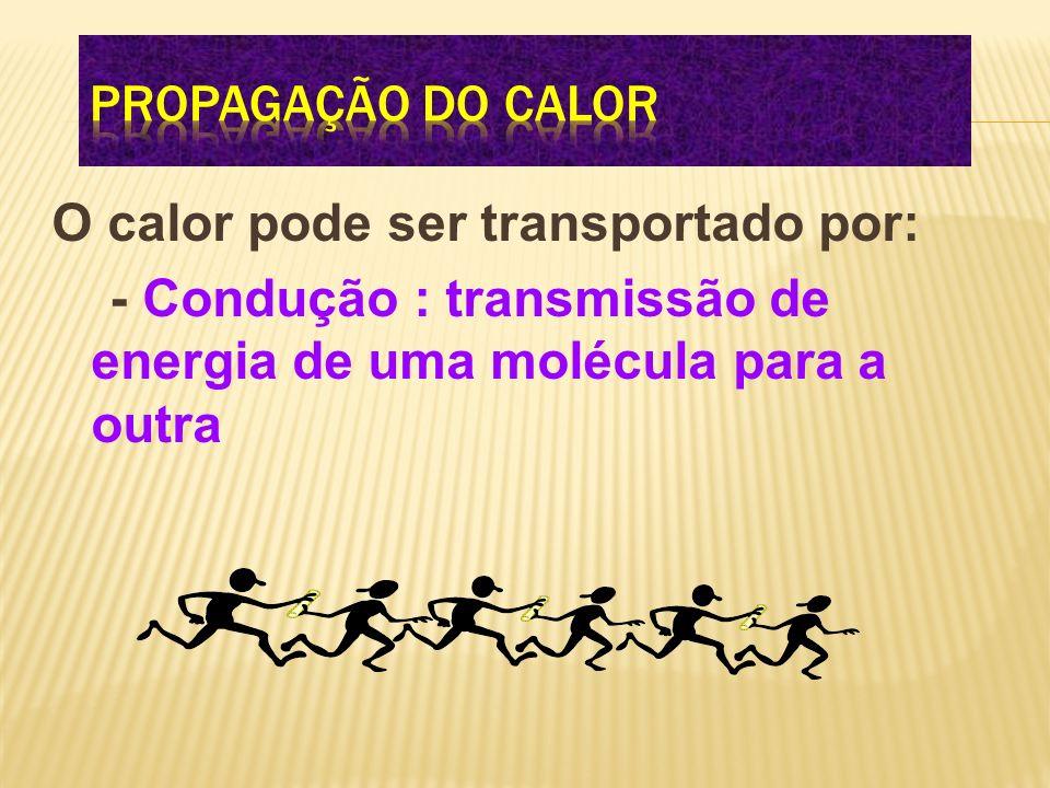 Propagação do calor O calor pode ser transportado por: - Condução : transmissão de energia de uma molécula para a outra